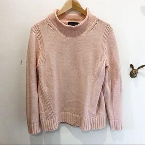 JCrew mock neck sweater in light pink cotton